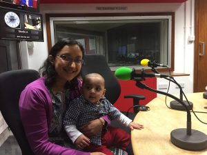 Sarah Khan and baby Zayn in radio station